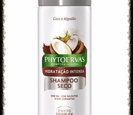 Resenha Shampoo Seco Hidratação Intensa Coco e Algodão Phytoervas